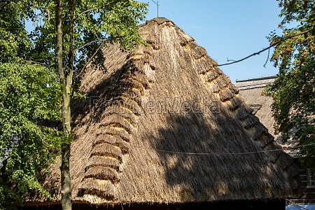 detail of traditional thatched roof from