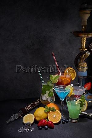 hookah shisha and cocktails set on