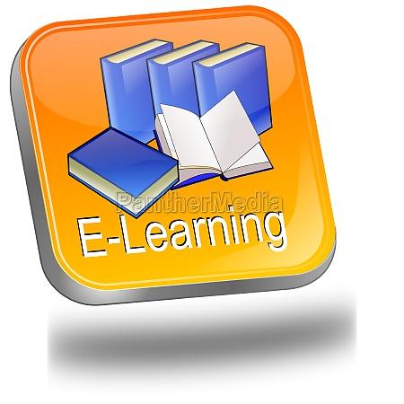e learning button orange blue