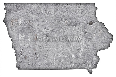 map of iowa on weathered concrete