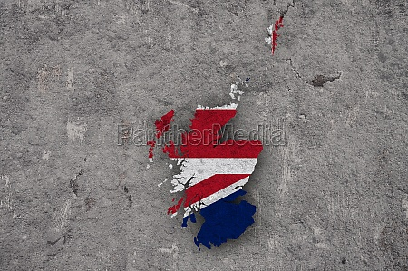 map and flag of scotland on