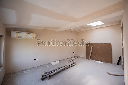 interior of construction site with drywall