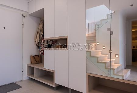 stylish interior of apartment entrance corridor