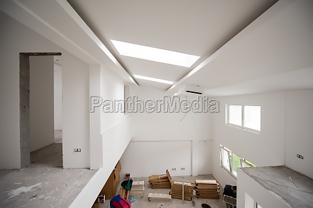 interior of construction site with white