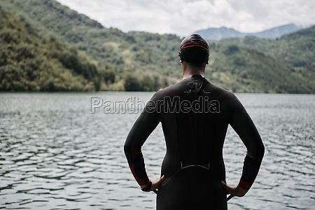 triathlete swimmer portrait wearing wetsuit on