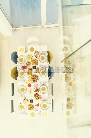 top view of beautiful decorated and