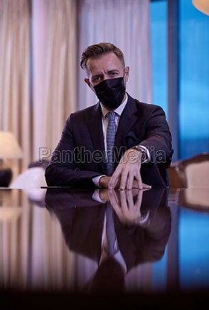 business man wearing protective face mask