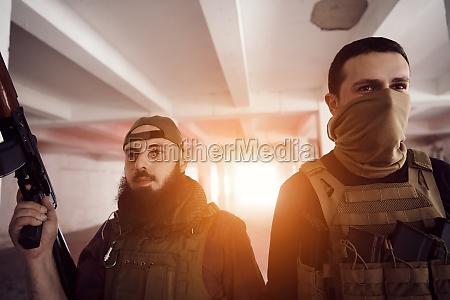 soldier squad team portrait in urban