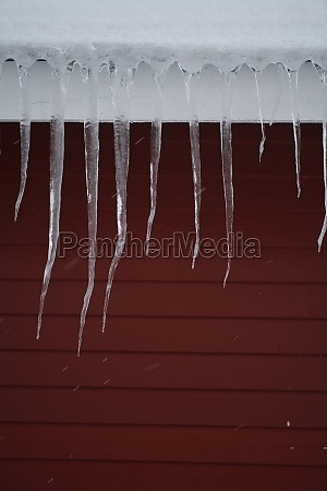 icicles on the roof of a