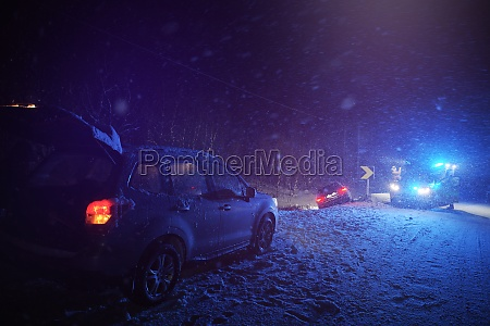 car accident on slippery winter road