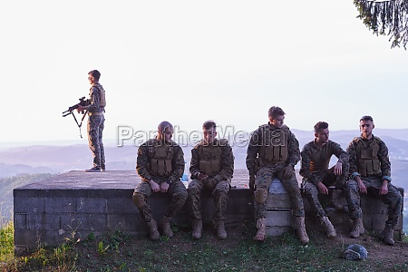 soldiers squad relaxing