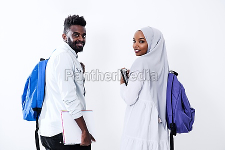 african students couple walking