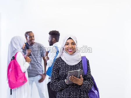 muslim female student with group of