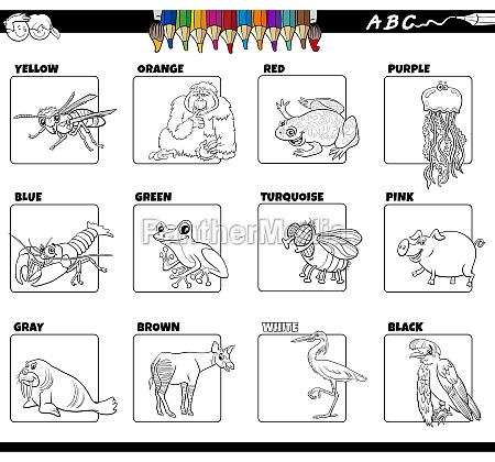 basic colors with animal characters set
