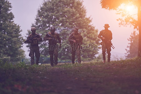 soldiers squad relaxed walking