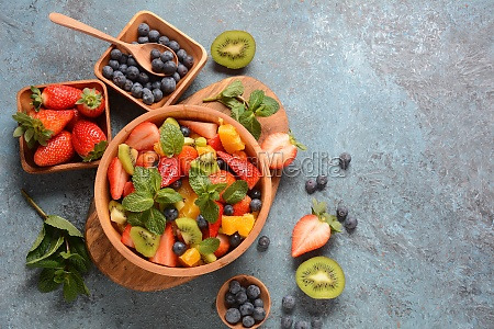 summer fruit salad with oranges strawberries