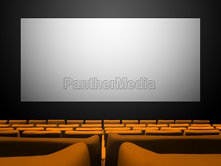 cinema movie theatre with orange seats