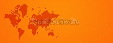 world map on orange wall background