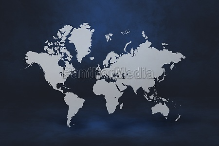 world map on black wall background