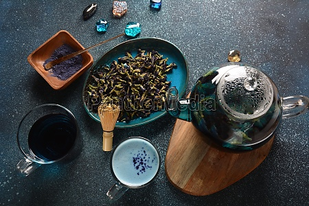 healthy blue butterfly pea tea from
