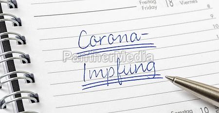corona vaccination in german written on