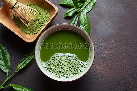green matcha tea drink and tea