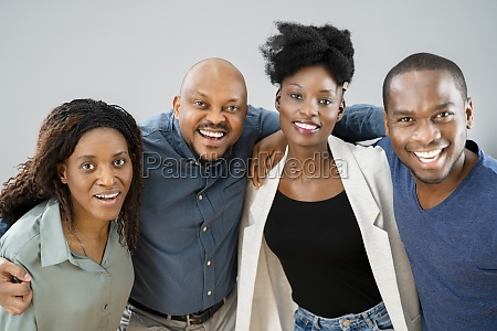 group of happy african friends people