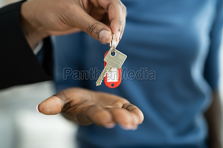 real estate house key handover