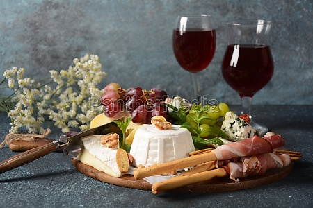appetizers table with snacks antipasto