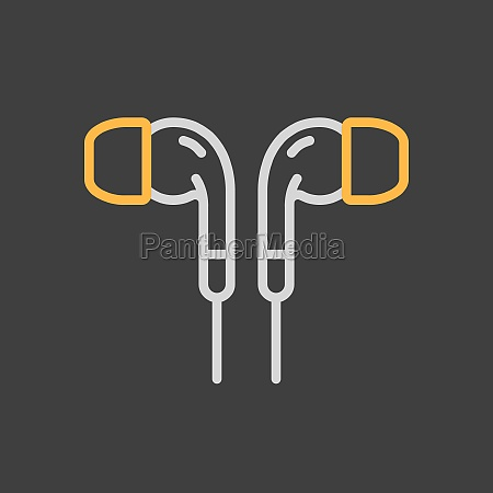 earbuds headphone vector flat icon on