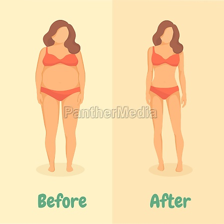 woman before and after diet or