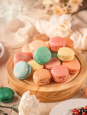 french macarons with different flavorful fillings