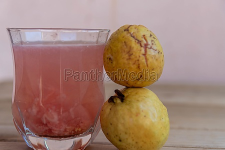 glass with guava juice and fresh