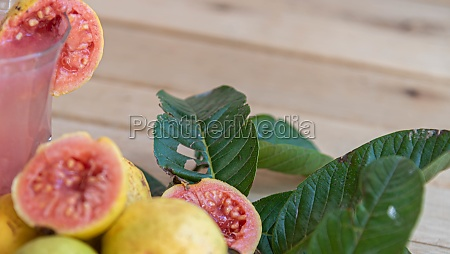 guava juice and fresh fruits on