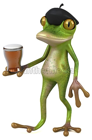 fun french frog 3d illustration