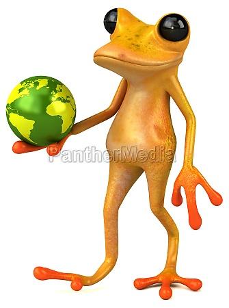 fun yellow frog 3d illustration