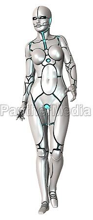3d rendering female robot on white