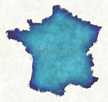 france map with drawn lines and