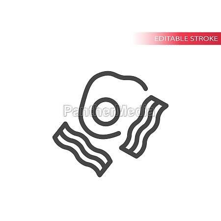 eggs and bacon line vector icon