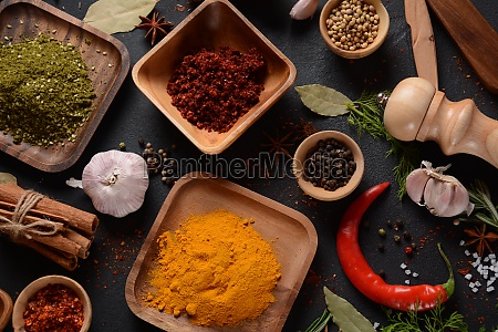 colorful various herbs and spices for