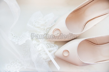 beautiful brides wedding shoes garter and