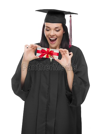 female graduate holding stack of gift