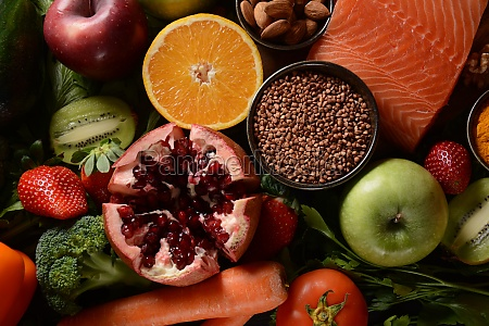 healthy food background fruits vegetables salmon