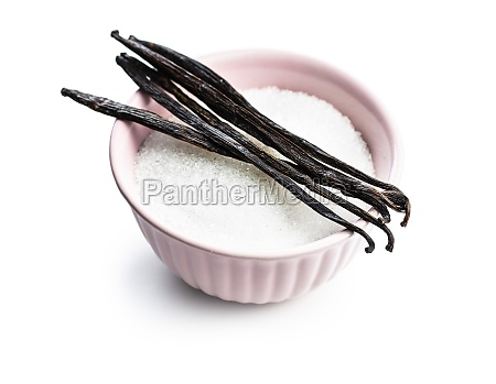 vanilla pods and sugar in bowl
