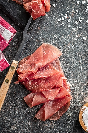 sliced carpaccio raw beef meat