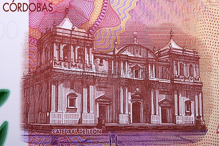 cathedral of leon from nicaragua money