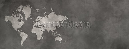 world map on black concrete wall
