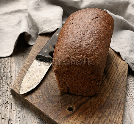baked rectangular rye flour bread on