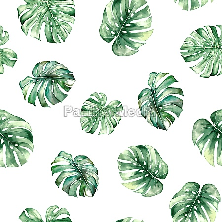 watercolor monstera tropical leaves seamles pattern