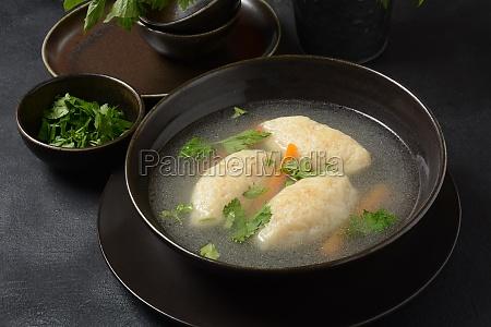 griessnockerlsuppe clear soup with semolina dumplings